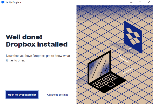 Message when the Dropbox installation is complete
