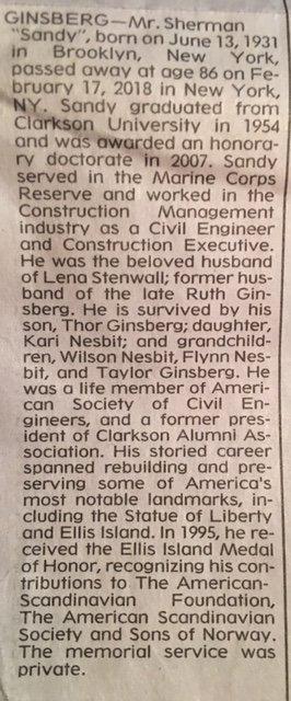 Sandy Ginsberg NY Times Obituary