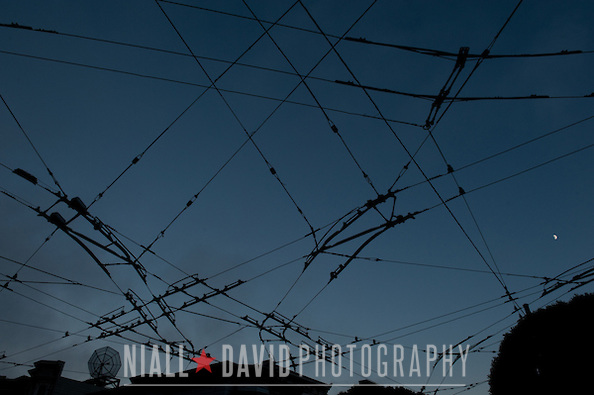 Street Scenes San Francisco Bus Lines Electricity Night Sunset Sky Clouds Niall-David-Photography-7279