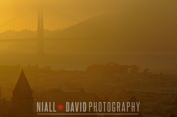 Sunset Golden Gate Bridge San Francisco Bay Fog Nob Hill - Niall David Photography