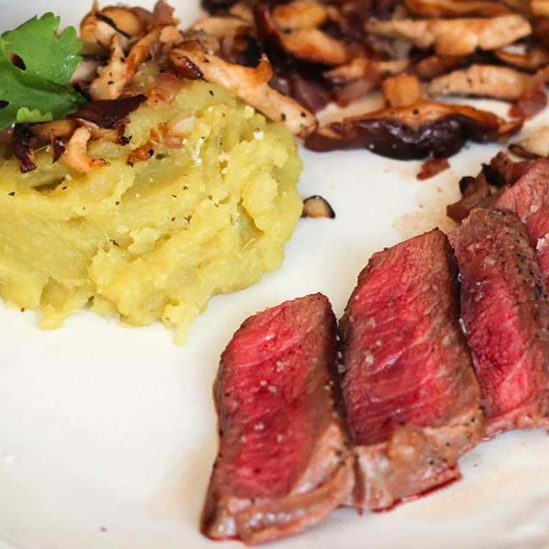 Sirloin steak and sweet potato mash