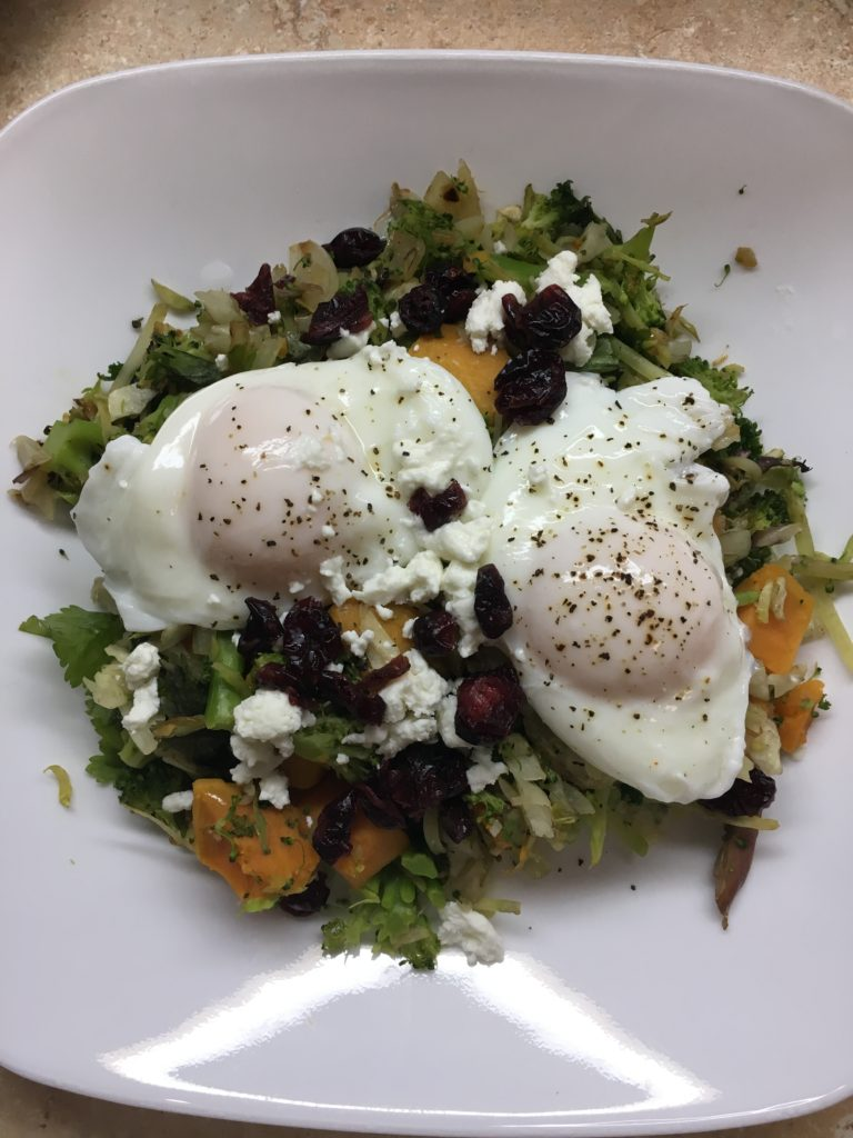 poached eggs on veggies