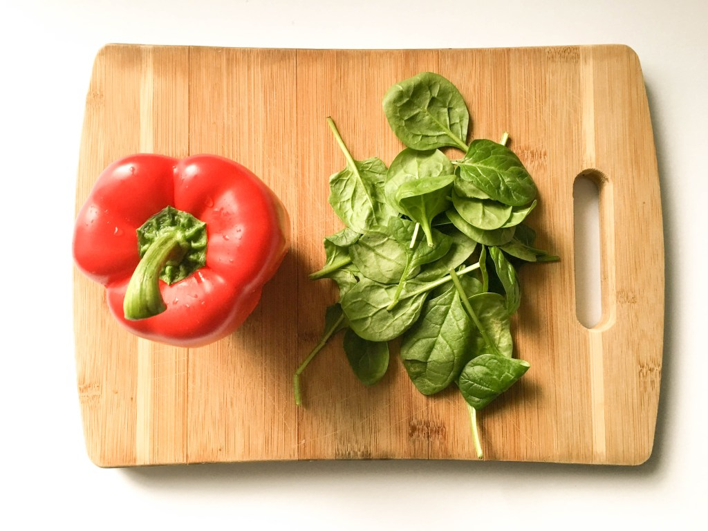 red pepper and spinach