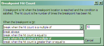 Enable hit count in the debugger