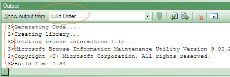 Build output ordered