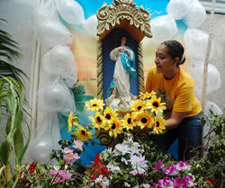 A traditional altar honoring the Virgin Mary