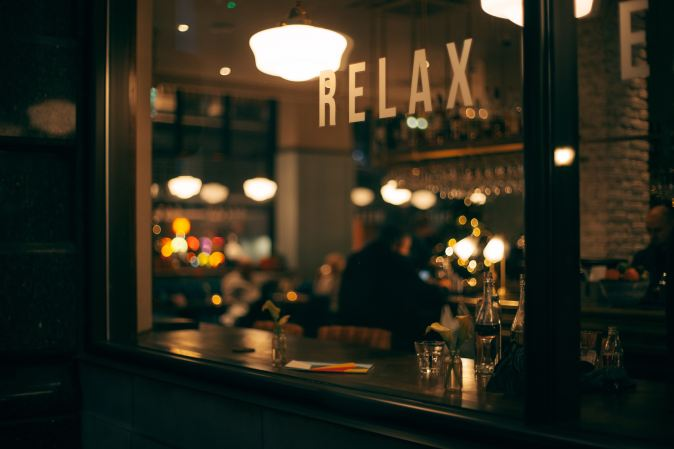 Picture of coffee shop saying relax