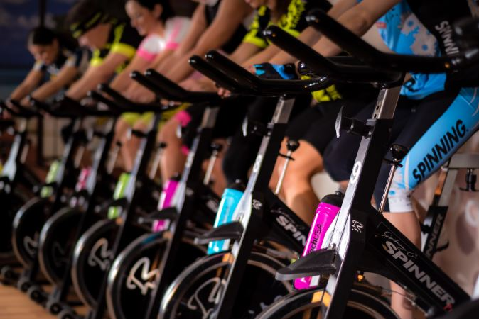 Picture of spinning bikes in the gym
