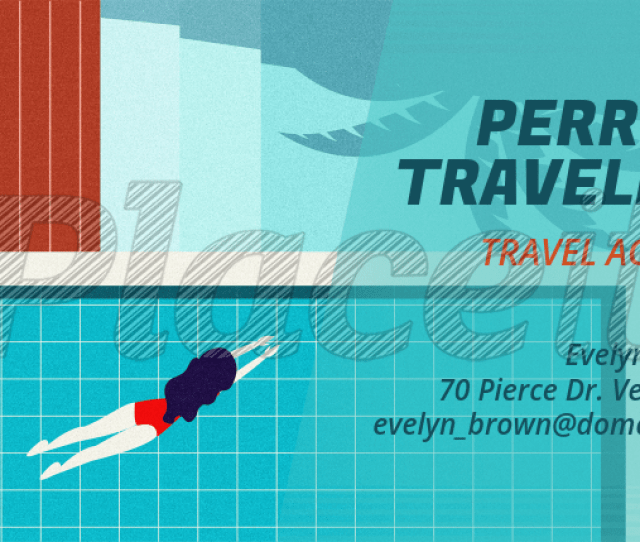 Business Card Maker For A Travel Agency With Pool Graphics 340aforeground Image