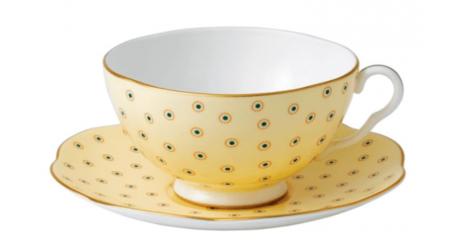 Wedgwood Polka dot tea cup and saucer yellow