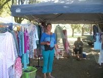 New traders Karen and her sister Riette, with handprinted fabrics and designs.