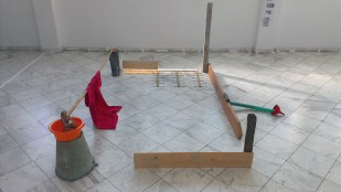 zissis kotionis VOURLA, ESCAPE BED dimensions of work: 2,40×1,80m materials: wood, bamboo, fabric, plastic, woven mat, led light, 2016 in collabortion with: Vassiliki Roditi
