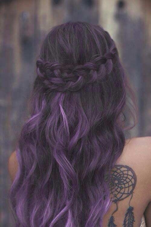 Dark Purple Hair Color Idea for Brunettes