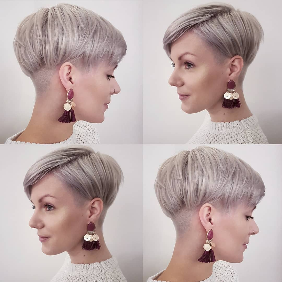 Ash-blonde basin-cut with side parting – stylish pixie haircuts
