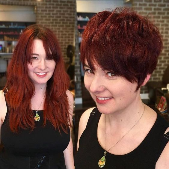 Long Red Layers to Piece-y Pixie