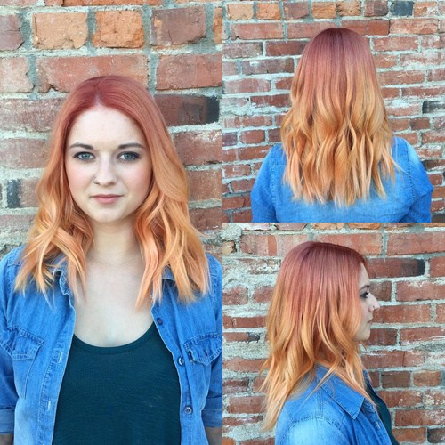 Rose Gold Melt: Ombre Hairstyle for Medium Hair