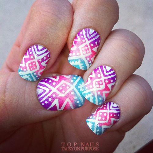 Tropical Tribal Nail Art.