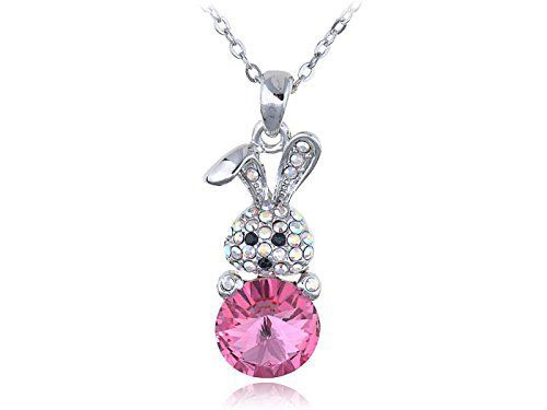 Rose Color Egg Cute Bunny Easter Necklace
