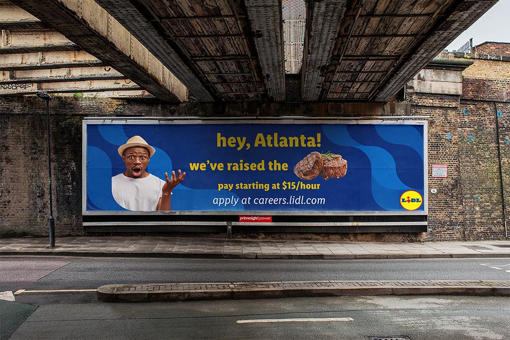 Lidl billboard steak mockup