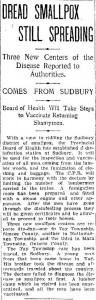 """Dread Smallpox Still Spreading,"" Toronto Daily Star, Monday, March 18, 1901. Front page."