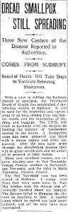 """Dread Smallpox Still Spreading,"" Toronto Daily Star, Monday, March 18, 1901. Front page."