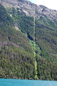 U.S.-Canada border where it cuts through Waterton Lake (Alberta). Image courtesy T.W. Buckner