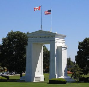 The Peace Arch monument marking the Canadian-U.S. border at Surrey, BC: Source: Wikipedia