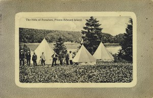 "Early campers near the current ""Stop Plan B"" protest, Bonshaw; Photo courtesy of PEI Museum and Heritage"