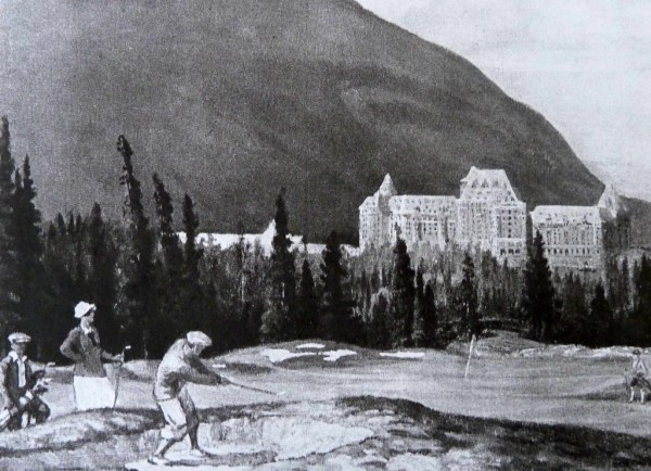 """Figure 2 – """"The New Golf Course at Banff"""" reproduction of an Adam Sherriff Scott painting of the Banff golf course from a Banff Springs Hotel tourist booklet, """"Banff Golf Course,"""" 1929. Pamphlet Collection. Courtesy Canadian Pacific Archives."""
