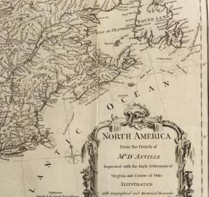 Thomas Jefferys, North America from the French of Mr. d'Anville, improved with the back settlements of Virginia and course of Ohio (1760), detail, courtesy davidrumsey.com