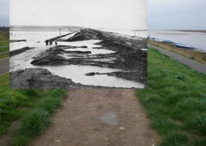 The Great Wall along the western side of the harbour at Wells-next-the-Sea, Norfolk in early February 1953 and today