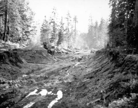 Cutting the road to Lions Gate Bridge, 1937. Source: City of Vancouver Archives, AM54-S9-: CVA 265-14