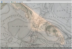 Transparent overlay showing the former channel and sand dunes on what is now Hog Island