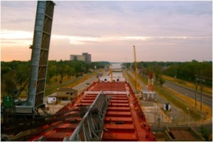 CSL Niagara going through Lock 8 at Port Colborne (note the raised bridge)