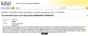 "Kijiji ad for ""Mennonite Firewood"" January 5, 2013"