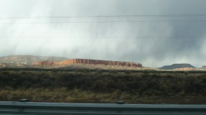 Red mesa and rain clouds - western New Mexico - February 27, 2014