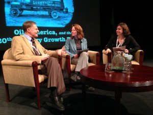 Richard Heinburg in discussion with 2014 NCPH co-chairs Briann Greenfield and Leah Glaser in Monterey, California, after the plenary.