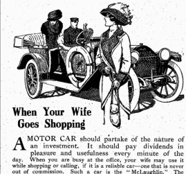 In their earliest depictions of the motor car, the McLaughlin Carriage Co. drew on hegemonic notions of Victorian respectability, gender, and class to market their automobiles to suit the gazes of middle and upper-class men. McLaughlin Carriage Co., Parkwood Estate Archives, 2005 649, 1908(?).