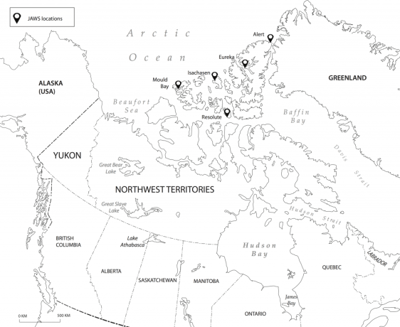 The Joint Arctic Weather Stations. Map courtesy of True North Consulting.