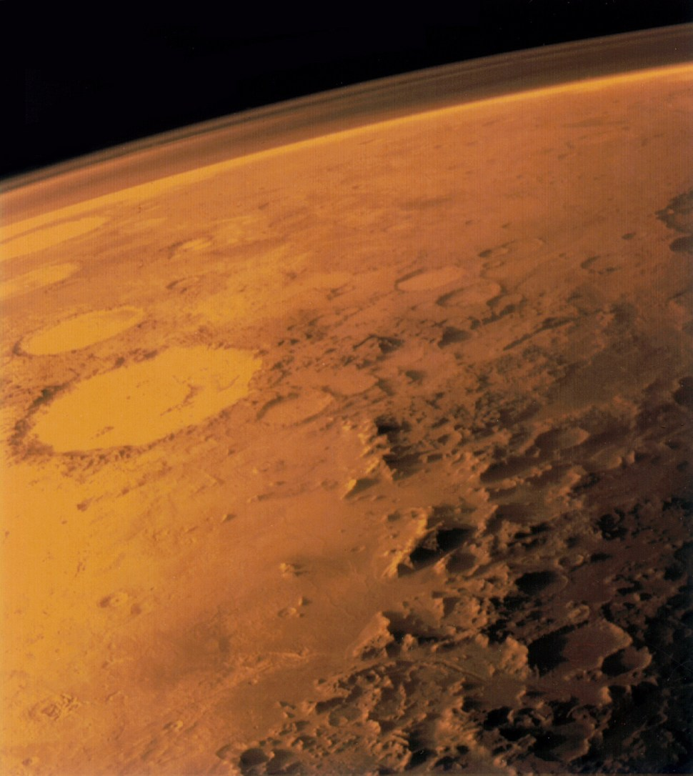 The Martian atmosphere, spotted by the Viking 1 Orbiter. NASA, 1975.