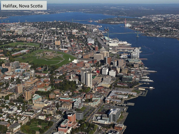 In an aerial view of Halifax, the footprint of the now-buried Freshwater Creek is still visible in the line of trees snaking from the Commons and Public Gardens down to the harbour.