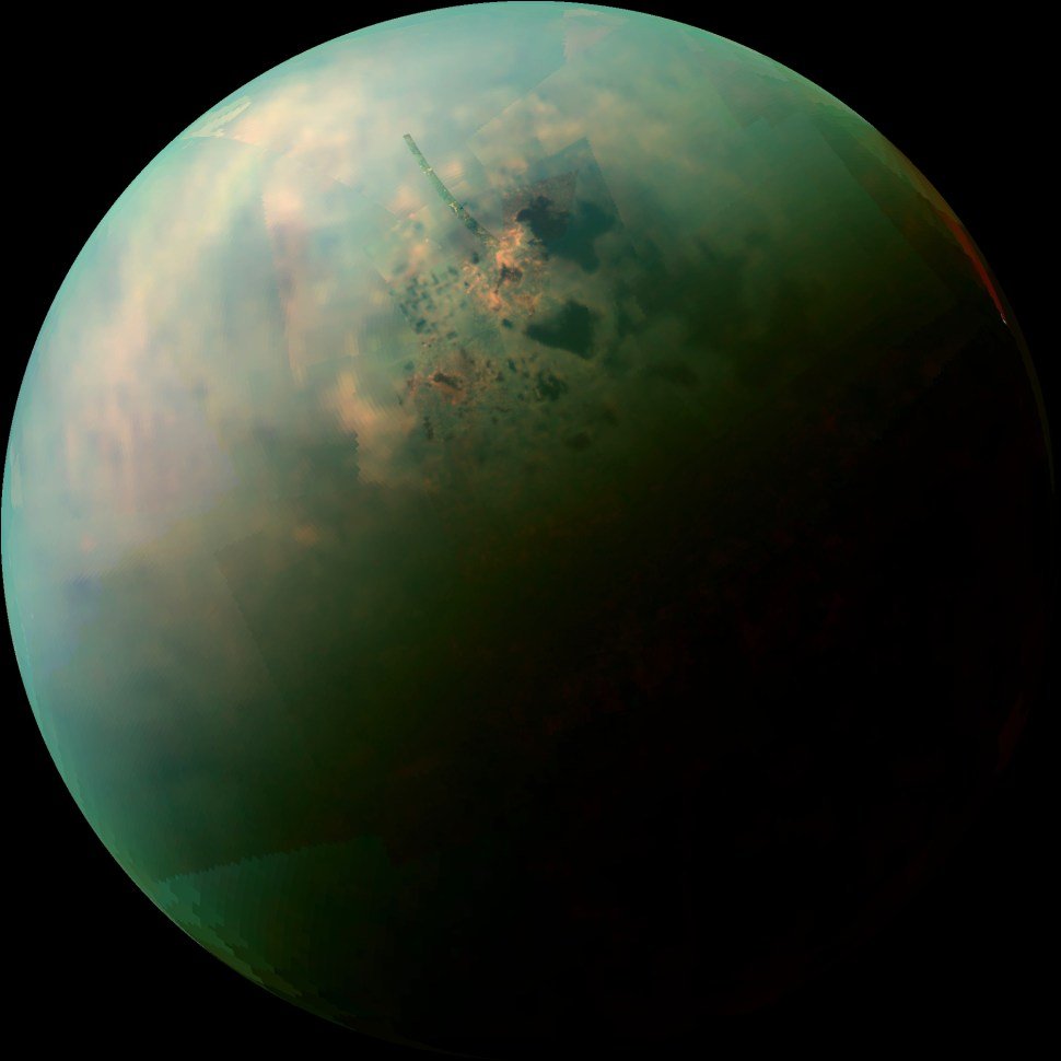 Hydrocarbon lakes on Saturn's moon Titan, in this false-color image by the Cassini space probe. Credit: NASA/JPL-Caltech/University of Arizona/University of Idaho