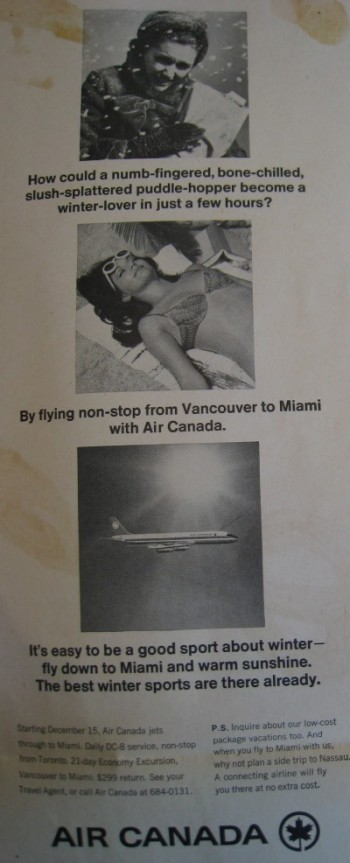 1967 Vancouver regional Air Canada advertisement. Source: Air Canada Collection, Canada Aviation and Space Museum Archives.