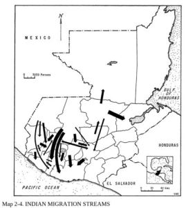 Map of Guatemala: 1964 Migration streams of Indigenous population. Source: Richard Newbold Adams, Crucifixion by Power: Essays on Guatemalan National Social Structure, 1944–1966, (Austin: University of Texas Press, 1970).