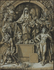 "Joseph Werner, ""Diana of Ephesus as allegory of Nature,"" ca. 1680, Art Institute of Chicago, Pen and black ink and brush and gray wash, white and blue gouache, on blue laid paper (discolored to light brown), mounted to laid card, 250 x 193 mm."