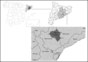 Figure 1: Localization of our case study. Vallès County, Catalonia, Spain