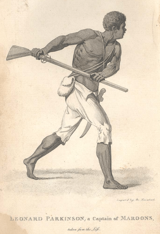 """Leonard Parkinson, a captain of the Maroons"", Abraham Raimbach, engraver, in B. Edwards, The Proceedings of the Governor and Assembly of Jamaica, in Regard to the Maroon Negroes . . . to which is prefixed an Introductory Account . . . of the Maroons . . . (London, 1796); Nova Scotia Archives Library Collection: F210 Ed9 (scan 200402094). Used with permission."
