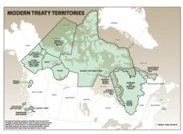 Modern Treaty Territories in Canada in 2009. Nearly half of Canada's lands and waters are in some way impacted by these comprehensive land claim agreements. Reproduced with permission of the Land Claims Agreement Coalition.