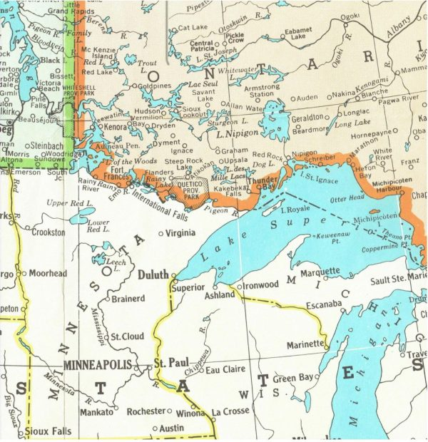 Map showing waterways connecting Northwestern Ontario to Minnesota. (Courtesy of the Fort Frances Museum & Cultural Centre, Fort Frances, Ontario)