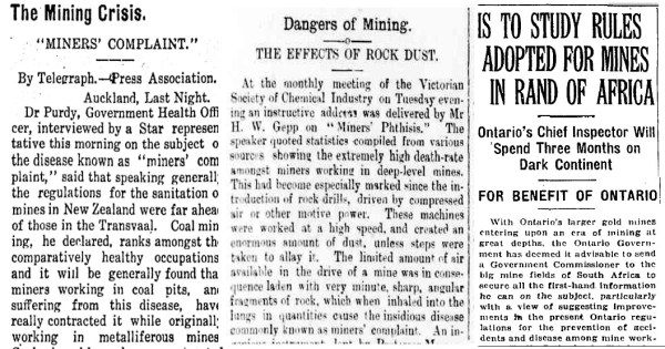 A sample of silicosis headlines from the Waikato Argus (New Zealand), 1909, Mount Alexander Mail (Australia), 1904, and the Globe (Toronto), 1924.